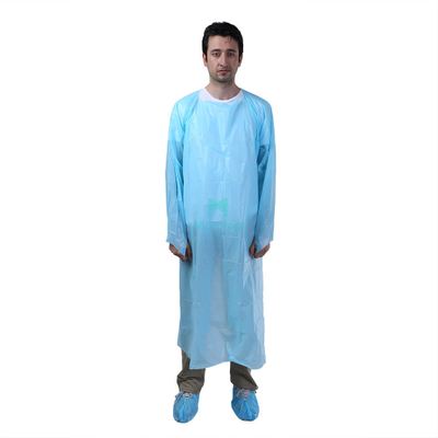 Blue Disposable Plastic Isolation CPE Gown with Ties at Wrist