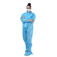 Blue PP+PE Nonwoven Industrial Safety Anti Static Laminated Lightweight Chemical Disposable Dust Suit Protective Clothing Type 5 6 Coverall Without Hood