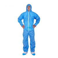 Blue PP Non Woven Wholesale Hooded Painting Protective Disposable Coverall