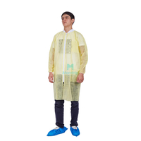 Science Non Woven Lightweight High Quality Disposable Anti Stastic Lab Coat with Zipper Closure