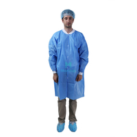 Blue Non Woven Polypropylene Lightweight Disposable Long Sleeve Doctor Lab Coat