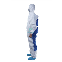 Microporous Combined with SMS Hooded Dustproof Splashproof Ce Certificated Laboratory Disposable Clothing