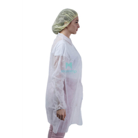 Laboratory Non Woven Breathable Chemistry Protective Long Sleeve Disposable Lab Coat