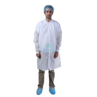 White Non Woven Polypropylene Science Protective Disposable Lab Coat