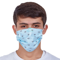 Morntrip Wholesale Hay Fever Blue Nonwoven Safety Hygienic Chirurgical Pattern Printed Earloop 3 Ply Disposable Medical Face Mask