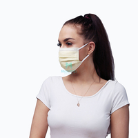 Yellow Non Woven Pleated Anti Pollen Protective Disposable Face Mask