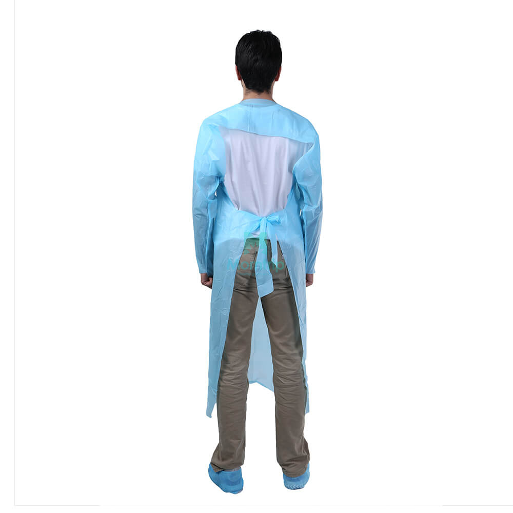 Blue Disposable Isolation Gown with Open Back