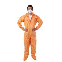 Morntrip Orange 50 GSM Non Woven Microporous Paint Type 5 6 Liquid Resistant Chemical Breathable Disposable Industrial Protective Coverall Safety Clothing