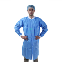 Blue Non Woven Protective Medical Non Sterile Disposable Doctor Lab Coat